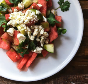Super-Chilled Summer Watermelon Salad with Feta, Cucumbers + Serrano Vinaigrette